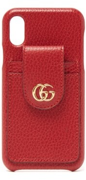 Gucci GG-plaque Grained-leather Iphone X Case - Red