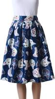 Femirah Women's Black/Green/White/Blue/Purple Floral Skater Skirt Midi Pleated Skirt