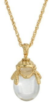2028 14K Gold Plated Clear Glass Egg Pendant Necklace