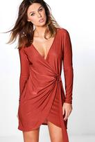 Boohoo Emiko Slinky Wrap Ring Detail Dress