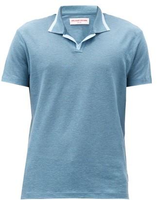 Orlebar Brown Felix Open-collar Linen-pique Polo Shirt - Blue