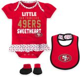NFL San Francisco 49ers Little Sweet 3-Piece Creeper, Bib, and Bootie Set