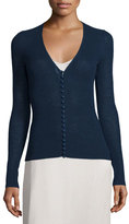 The Row Jair V-Neck Button-Front Cardigan, Marble Bright Blue