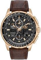 Citizen Eco-Drive Men's Analog-Digital Chronograph Skyhawk A-T Brown Leather Strap Watch 47mm JY8056-04E