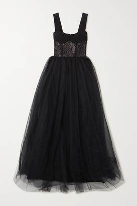 Rasario Crepe, Lace And Tulle Gown - Black