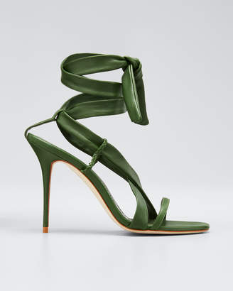 Manolo Blahnik Tor Leather Ankle-Tie Stiletto Sandals