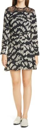 Reiss Miya Abstract Ruched Long Sleeve Minidress