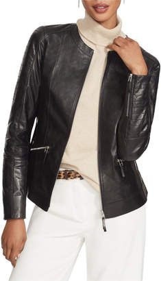 Lafayette 148 New York Everly Zip-Front Glazed Weightless Quilted Lambskin Jacket
