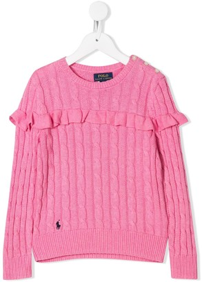 Ralph Lauren Kids Ruffle Trim Jumper