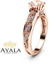 Etsy Morganite Vintage Engagement Ring Unique 14K Rose Gold Engagement Ring Diamond Morganite Vintage Rin