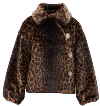 Shrimps Olga Crystal-button Faux-fur Jacket - Leopard