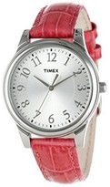 Timex T2P1252 Sports Women's Pink Leather Band With Silver Analog Dial Watch NWT