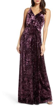 WAYF The Emma Ruffle Neck Velvet Faux Wrap Gown