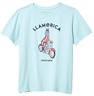Life is Good LLamerica Crusher Tee (Big Kids) (Beach Blue) Boy's Clothing