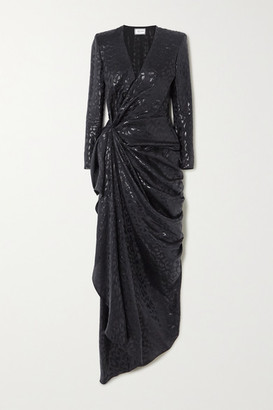 Redemption Draped Metallic Fil Coupe Silk-blend Gown - Black