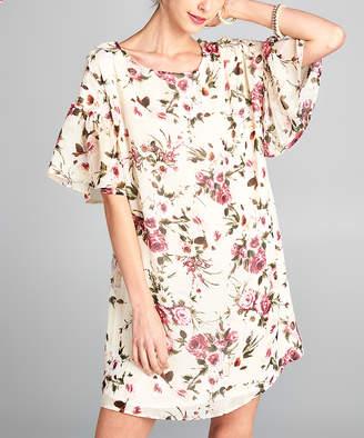 Love, Kuza Women's Casual Dresses Mauve - Mauve Floral Ruffle-Sleeve Shift Dress - Women