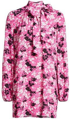 No.21 No. 21 Floral Tie-Neck Puff-Sleeve Shirtdress