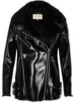 River Island Womens Black patent leather look aviator coat