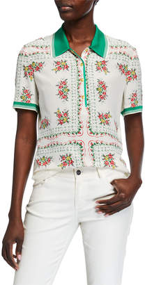 Tory Burch Floral Printed Short-Sleeve Polo Shirt