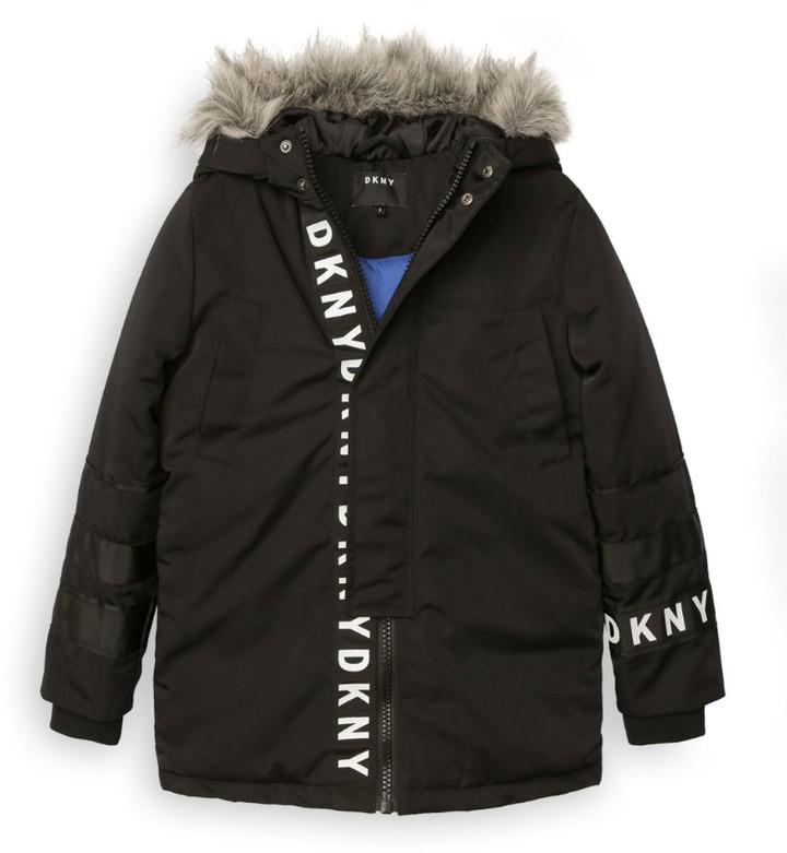 DKNY Logo Hooded Parka Coat (6-16 Years)