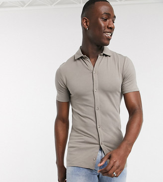 ASOS DESIGN Tall organic muscle fit jersey shirt in beige