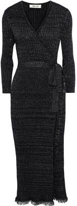 Diane von Furstenberg Frayed Metallic Ribbed Merino Wool-blend Midi Wrap Dress