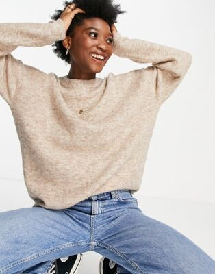 ASOS DESIGN oversized sweater with volume sleeve in stone