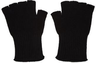 The Elder Statesman Black Heavy Fingerless Gloves