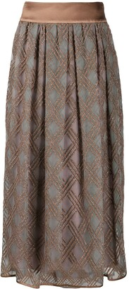Peserico Check-Embroidered Midi Skirt