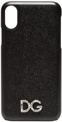 Dolce & Gabbana black textured leather Iphone X case