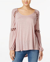 Jessica Simpson Missa High-Low Crocheted Peasant Top