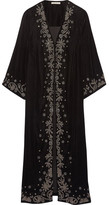 Alice + Olivia Stara Embroidered Velvet Coat - Black