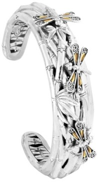 Devata Sweet Dragonfly Bamboo Sterling Silver Cuff Embellished by 18K Gold Accents on 4 Strips of Dragonfly's Wings