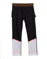Fendi Girl's Two-Tone Leggings w/ Logo Waistband, Size 4-8