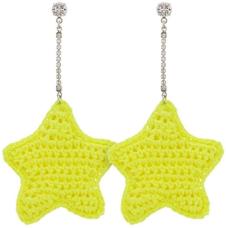 Venessa Arizaga neon yellow woven star and crystal embellished earrings