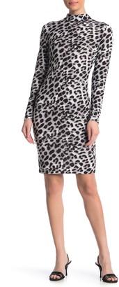 Blvd Mock Neck Leopard Print Bodycon Dress