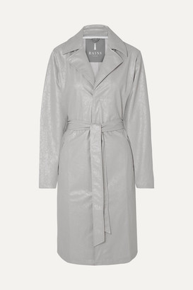 Rains Belted Cracked-pu Trench Coat - Silver