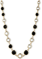 Anne Klein Faceted Jet and Clear Stone Long Necklace