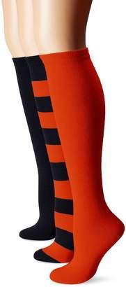 Muk Luks Women's Game Day Sport Stripe Mid Calf Socks Unisex 3 Pair Pack