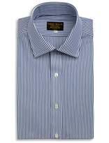 EMMA WILLIS Navy Bengal Stripe Swiss Cotton Shirt Slim Fit Double Cuff