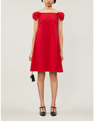 Valentino Off-the-shoulder wool-blend mini dress