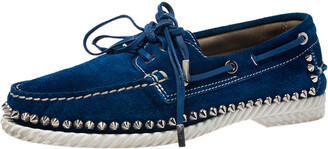 Christian Louboutin Blue Suede Steckel Spike Boat Loafers Size 37.5