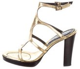 Barbara Bui Metallic Leather Sandals