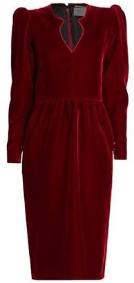 Saint Laurent Puff-Sleeve Velvet Dress