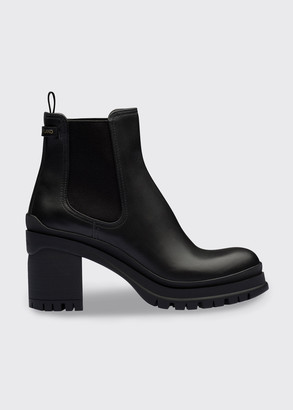 Prada 55mm Leather Pull-On Ankle Booties