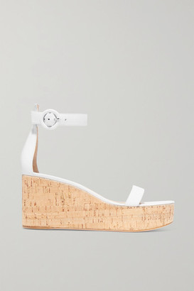 Gianvito Rossi Portofino 45 Leather Wedge Sandals - White