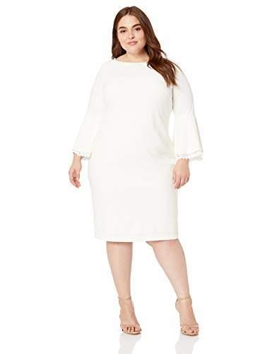 Women\'s Plus Size Lace Trim Bell-Sleeve Sheath Dress