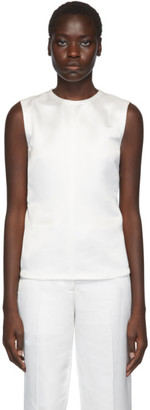 Helmut Lang White Satin Open-Back Tank Top