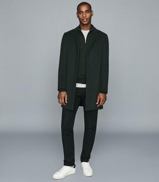 Reiss Blackhall - Merino Wool Zip Neck Jumper in Dark Green