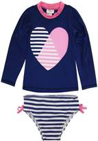 Sweet & Soft Little Girls Long Sleeve Heart & Stripes Swim Rashguard Bikini Set